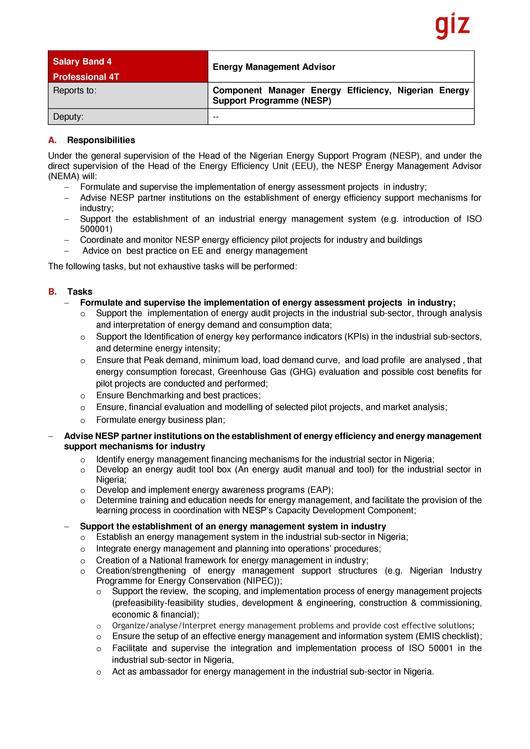 Salary Band 4 Professional 4T Energy Management Advisor