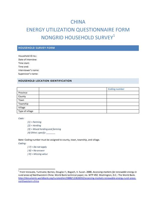 FileChina Energy Utilization Questionnaire FormNongrid Household