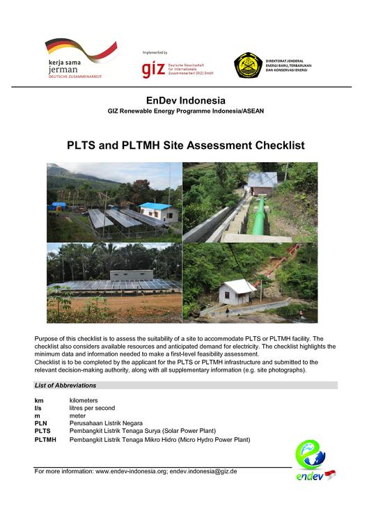 File:EnDev Indonesia Site Criteria Checklists for PLTS and PLTMH.pdf