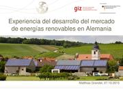Experience of market development of renewable energies in Germany (spanish)