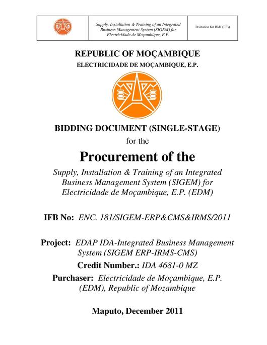 File:PT-Bidding Document (Signle-Stage) for the Procurement of the Supply, Installation & ...-Electricidade de Mocambique.pdf