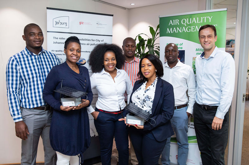 Handing over new solar-powered low-cost emission sensors to city officials of the City of Johannesburg, 2020