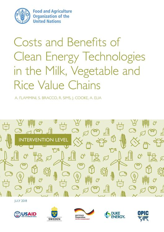 Costs And Benefits Of Clean Energy Technologies In The Milk Vegetable And Rice Value Chains