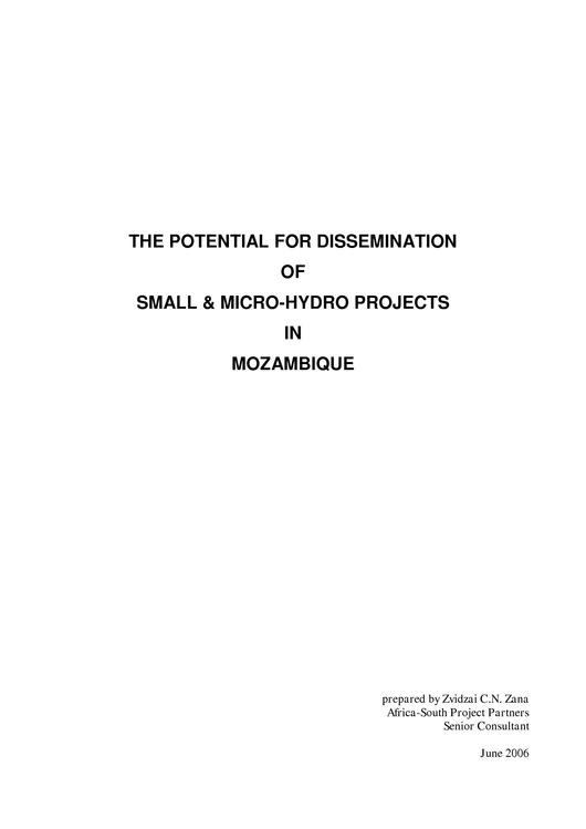 File:EN THE POTENTIAL FOR DISSEMINATION OF SMALL & MICRO-HYDRO PROJECTS IN MOZAMBIQUE Zvidzai C.N. Zana.pdf