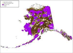 Existing hydroelectric plants and high head-low power water energy sites in Alaska.png