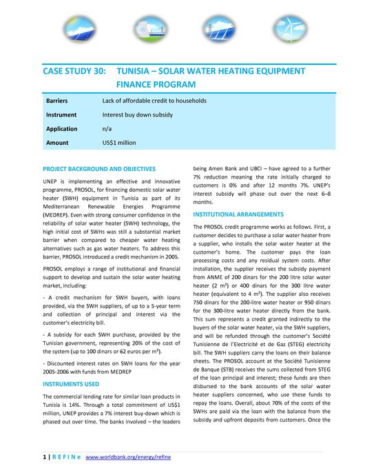 File:Tunisia - UNEP PROSOL Solar Water Heating Equipment Finance Programme.pdf