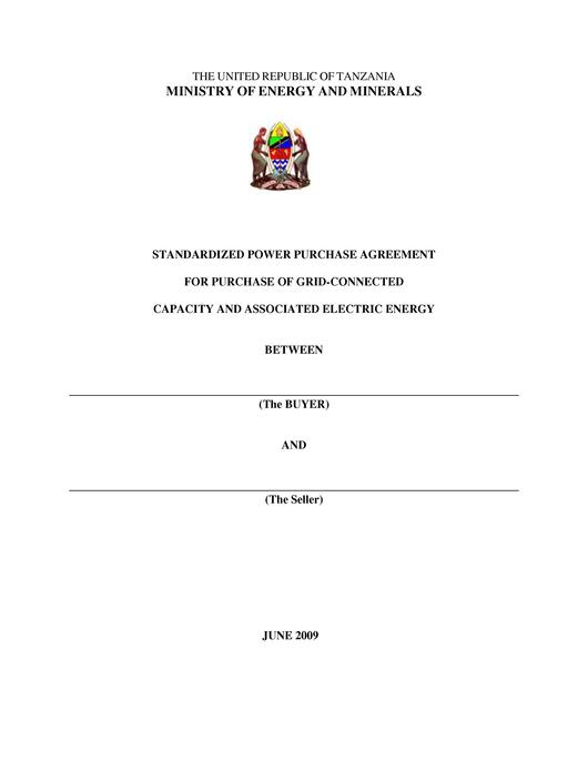 File:Tanzania Standardized Small Power Purchase Agreement - for Main Grid Connection.pdf