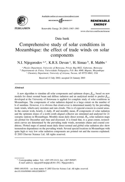 File:EN-Comprehensive study of solar conditions in Mozambique- the effect of trade winds on solar components-N.I. Nijegorodov;et.al..pdf