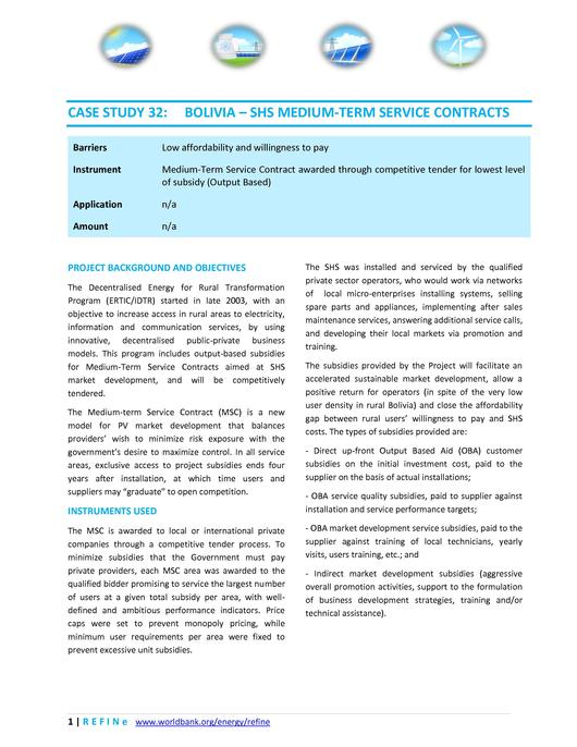 CASE STUDY 32: BOLIVIA – SHS MEDIUM-TERM SERVICE CONTRACTS