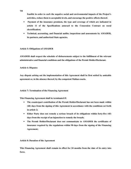 Filemali Model Financing Agreementpdf Energypediafo