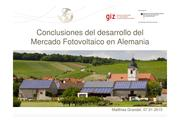 Conclusions of the market development of PV-energy in Germany (spanish)