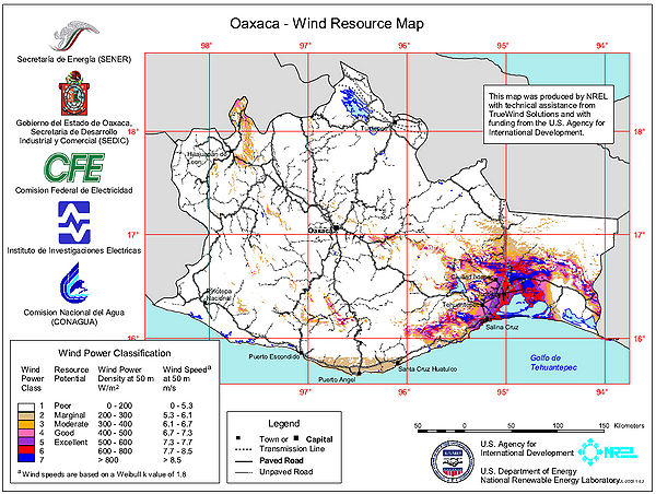 Oaxaca - Wind Resource Map