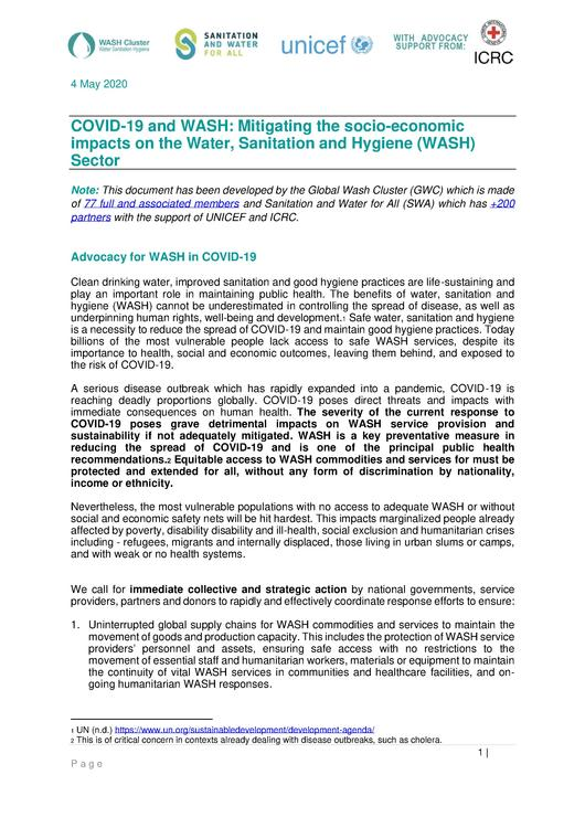 File:COVID-19 and WASH - Mitigating the socio-economic impacts on the Water, Sanitation and Hygiene (WASH) Sector.pdf
