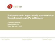 Socio-economic Impact Studay - Value Creation Through Small-scale PV in Morocco