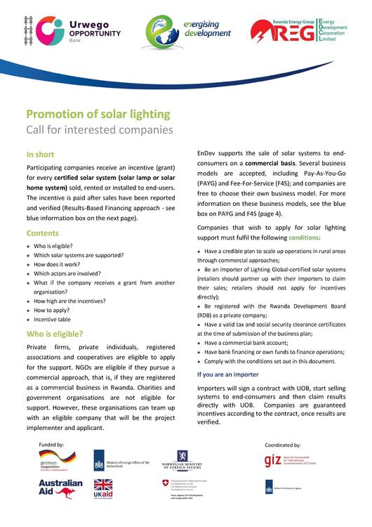 File:August 2014 RBF Solar Lighting - Call for Project Developers Urwego Opportunity Bank of Rwanda.pdf