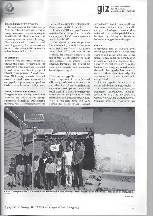 File:Article about energypedia in Appropriate Technology magazine 39