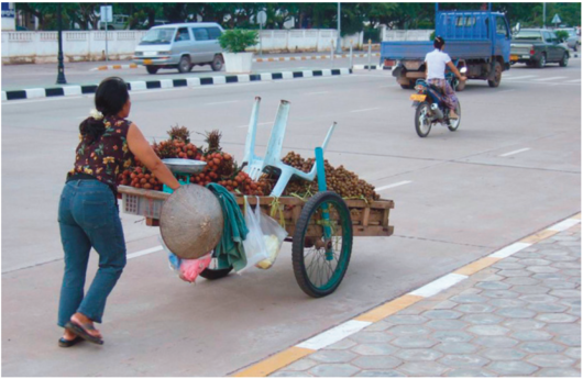 File:Non-motorised goods transport to the market in Vientiane, Laos..png