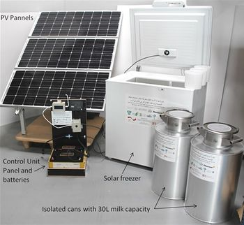 Solar Milk Cooling System for 60 liter per day ( PV-Panels, Batteries, Adaptive control unit, Ice-maker and 2 Isolated milk cans)