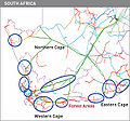Areas with major project development activities in South africa.jpg